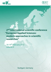 European Applied Sciences modern approaches in scientific researches
